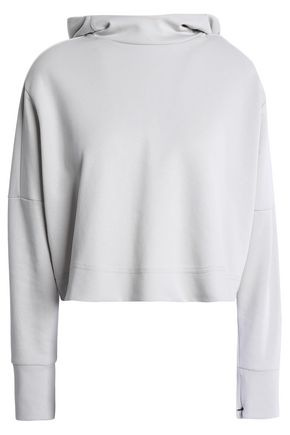 ADIDAS Cropped jersey hooded sweatshirt