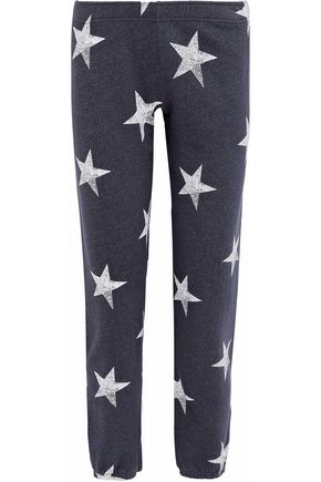 MONROW Printed French cotton-blend terry track pants