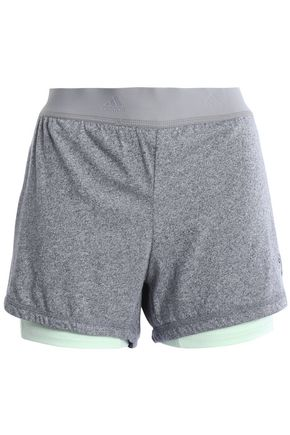 ADIDAS Layered tech and stretch-jersey shorts