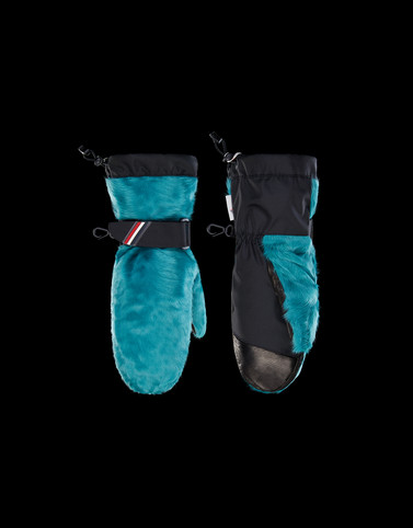 FUR-TRIMMED GLOVES Aquamarine Scarves & Gloves Woman