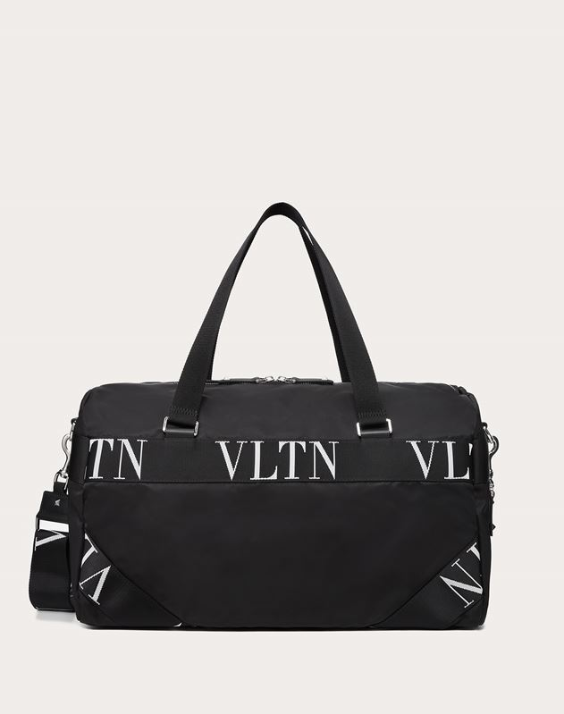 NYLON DUFFLE BAG WITH VLTN RIBBON HANDLES