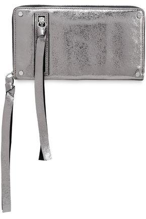 McQ Alexander McQueen Metallic cracked-leather wallet