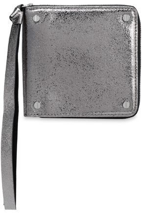 McQ Alexander McQueen Metallic cracked-leather wallet