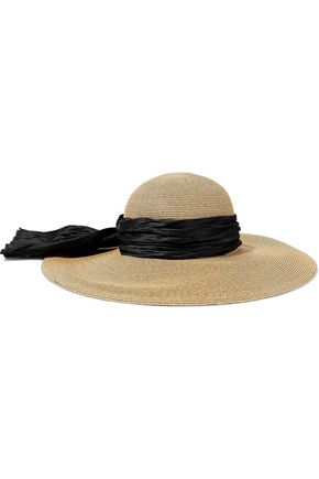 EUGENIA KIM Honey satin-trimmed straw sunhat