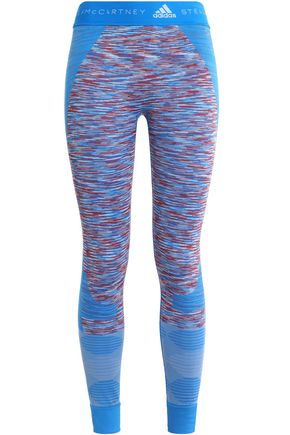 ADIDAS by STELLA McCARTNEY Marled crochet-paneled stretch-jersey leggings
