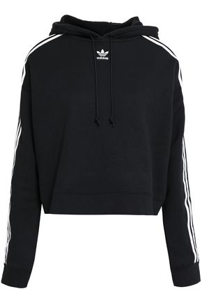 ADIDAS ORIGINALS Striped French cotton-terry hoodie