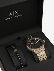 ARMANI EXCHANGE GOLD-TONED BRACELET WATCH WITH COORDINATING BRACELET SET Fashion Watch [*** pickupInStoreShippingNotGuaranteed_info ***] b
