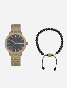 ARMANI EXCHANGE GOLD-TONED BRACELET WATCH WITH COORDINATING BRACELET SET Fashion Watch [*** pickupInStoreShippingNotGuaranteed_info ***] f