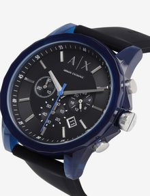 ARMANI EXCHANGE CHRONOGRAPH BLUE CASE SILICONE BAND WATCH Fashion Watch [*** pickupInStoreShippingNotGuaranteed_info ***] a
