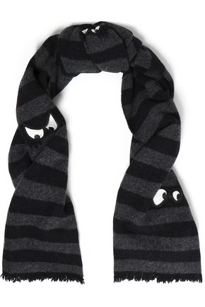 McQ Alexander McQueen Appliquéd striped wool scarf