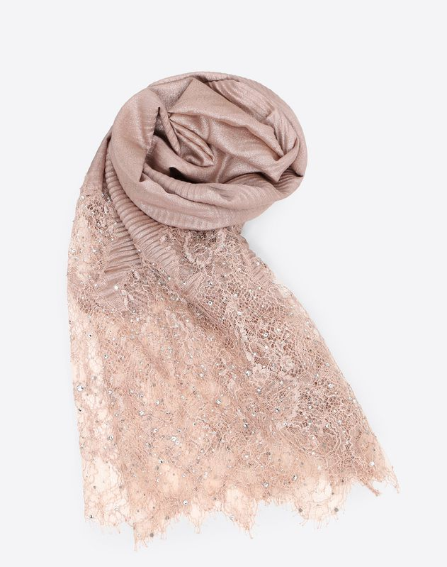 Pleated shawl with lace and sequin details