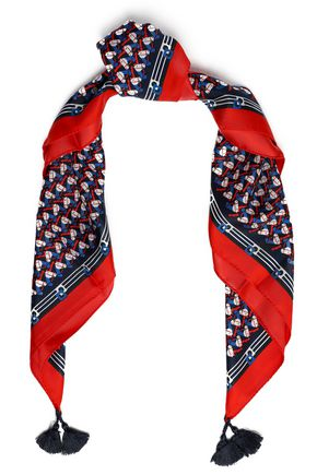 TORY BURCH Tasseled printed silk scarf
