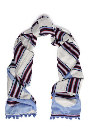 TORY BURCH Striped modal and wool-blend scarf