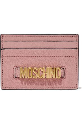 MOSCHINO Embellished textured-leather cardholder
