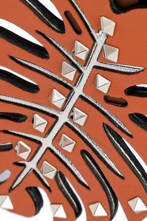 VALENTINO GARAVANI Tropical Dream Leaf studded leather keychain