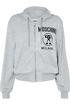 MOSCHINO Printed mélange jersey hoodie