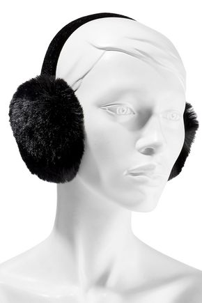 SURELL Velvet and faux fur earmuffs