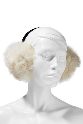 SURELL Faux fur and velvet earmuffs