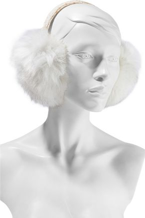 SURELL Metallic cable-knit and faux fur earmuffs