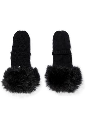 SURELL Faux fur-trimmed cable-knit mittens