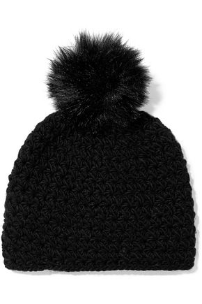 SURELL Pompom-embellished knitted beanie