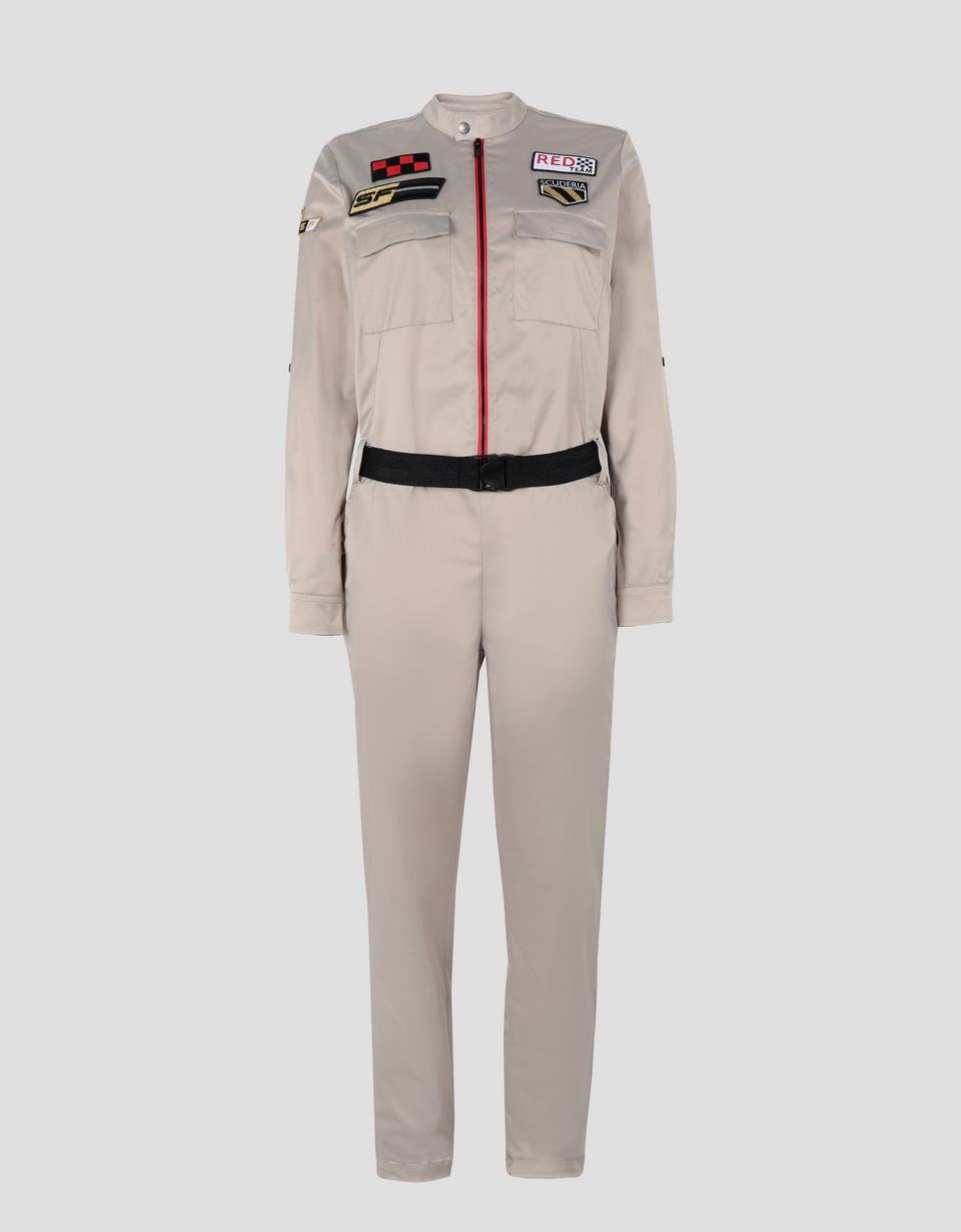 Scuderia Ferrari Online Store - Everywhere Red women's jumpsuit in stretch twill - Jumpsuits