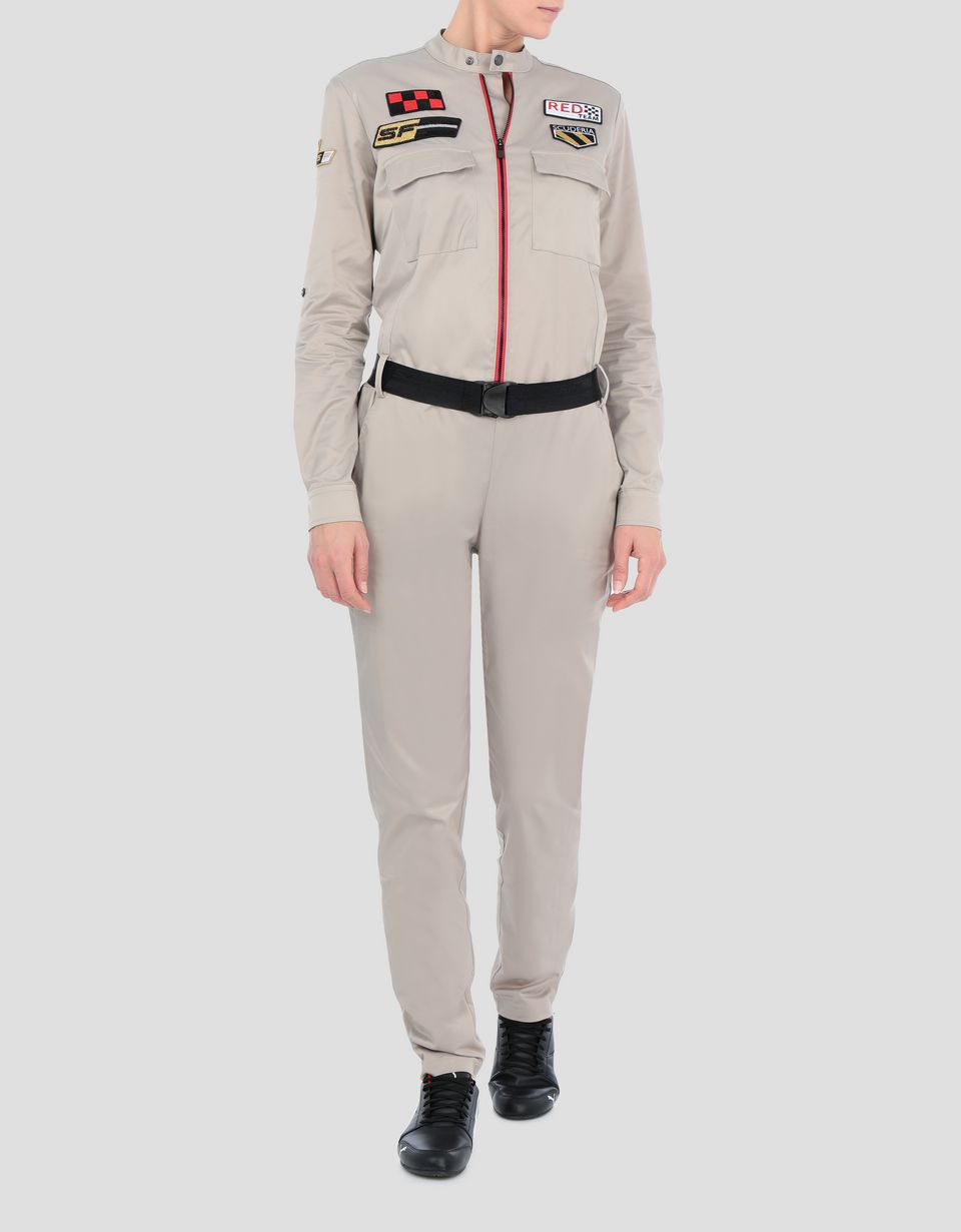 Scuderia Ferrari Online Store - Women's Everywhere Red twill stretch jumpsuit - Jumpsuits