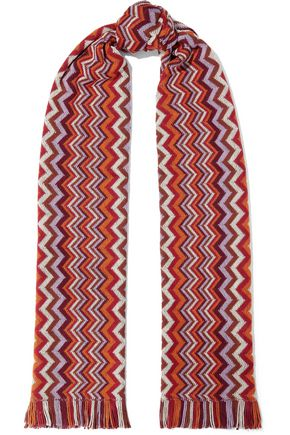MISSONI Fringed crochet wool-blend scarf