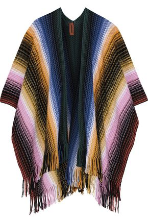 MISSONI Fringe-trimmed crochet wool-blend wrap