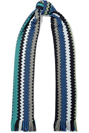 MISSONI Fringed wool-blend crochet-knit scarf