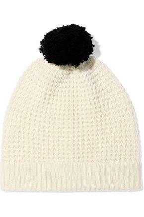 MADELEINE THOMPSON Monica pompom-embellished waffle-knit wool and cashmere-blend beanie