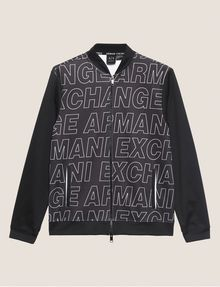 ARMANI EXCHANGE PATTERN-BLOCKED LOGO BOMBER Track top [*** pickupInStoreShippingNotGuaranteed_info ***] r