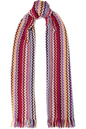 MISSONI Fringe-trimmed metallic crochet-knit scarf