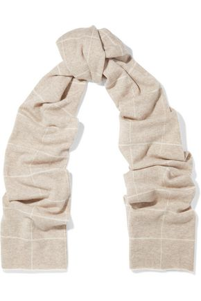 MADELEINE THOMPSON Checked wool and cashmere-blend scarf