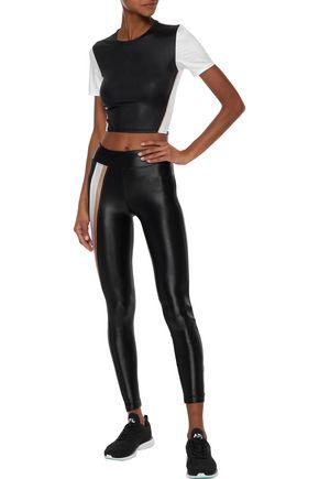 KORAL Tempo striped coated stretch leggings