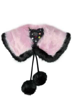 CHARLOTTE SIMONE Pompom-embellished two-tone faux shearling collar