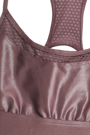 KORAL Pacifica mesh-trimmed coated stretch sports bra