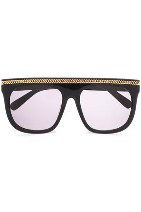STELLA McCARTNEY Square-frame silver-tone acetate sunglasses