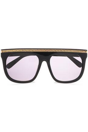 3fd72688a1c STELLA McCARTNEY Square-frame silver-tone acetate sunglasses