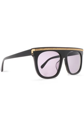 STELLA McCARTNEY Square-frame silver-tone acetate sunglasses
