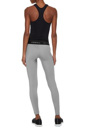 KORAL Rue appliquéd mesh-trimmed stretch leggings
