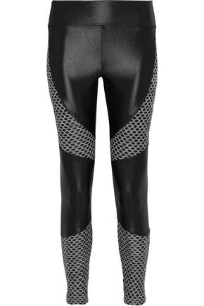 KORAL Forge mesh-paneled coated stretch leggings