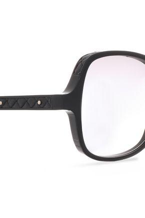BOTTEGA VENETA Square-frame silver-tone acetate sunglasses