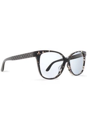 BOTTEGA VENETA D-frame quilted acetate sunglasses