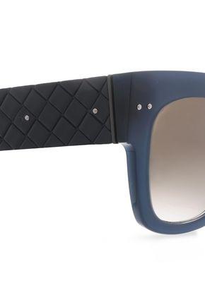 BOTTEGA VENETA Square-frame silver-tone quilted acetate sunglasses