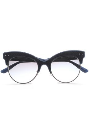 BOTTEGA VENETA Cat-eye acetate and metal sunglasses