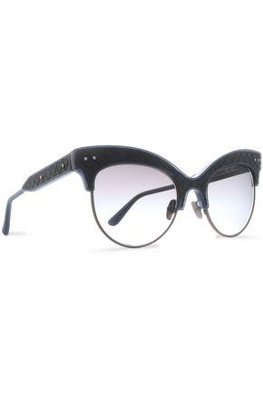 BOTTEGA VENETA Cat-eye acetate and metal sunglasses
