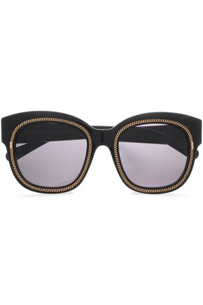 STELLA McCARTNEY Square-frame chain-trimmed acetate sunglasses