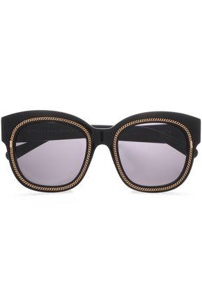 33563c7e2cbc STELLA McCARTNEY D-frame gold-tone acetate sunglasses