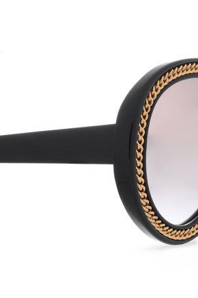 STELLA McCARTNEY Aviator-style gold-tone acetate sunglasses